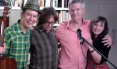 "Swan Dive in the 20th anniversary ""June"" livestream from left to right: Bill Demain, Jim Hoke, Brad Jones, Molly Felder."